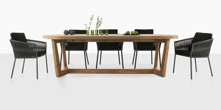 outdoor table and chairs wood electric power teak warehouse wicker furniture dining tables