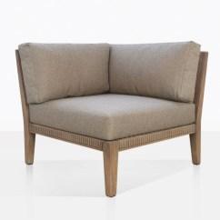 Wooden Corner Chair Karlstad Ikea Outdoor Gazzoni Sectional Reclaimed Teak Warehouse With Three Cushions