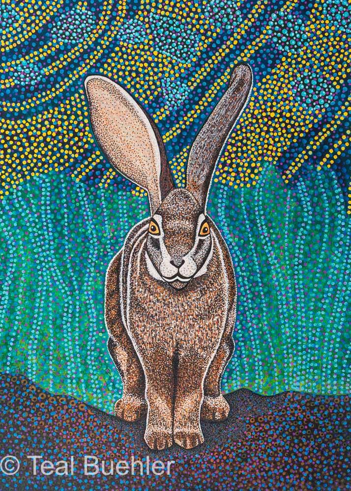 Riverine Rabbit - 11 x 15 Acrylic Paint & Pens on Watercolor Paper