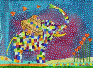 SOLD - Quilted Elephant - 9x12 Acrylic with Collage on watercolor paper