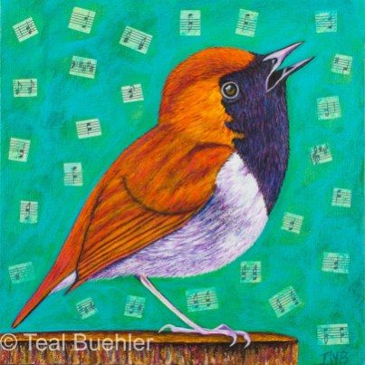 Bird Notes - 10 x 10 Acrylics and Collage on Canvas