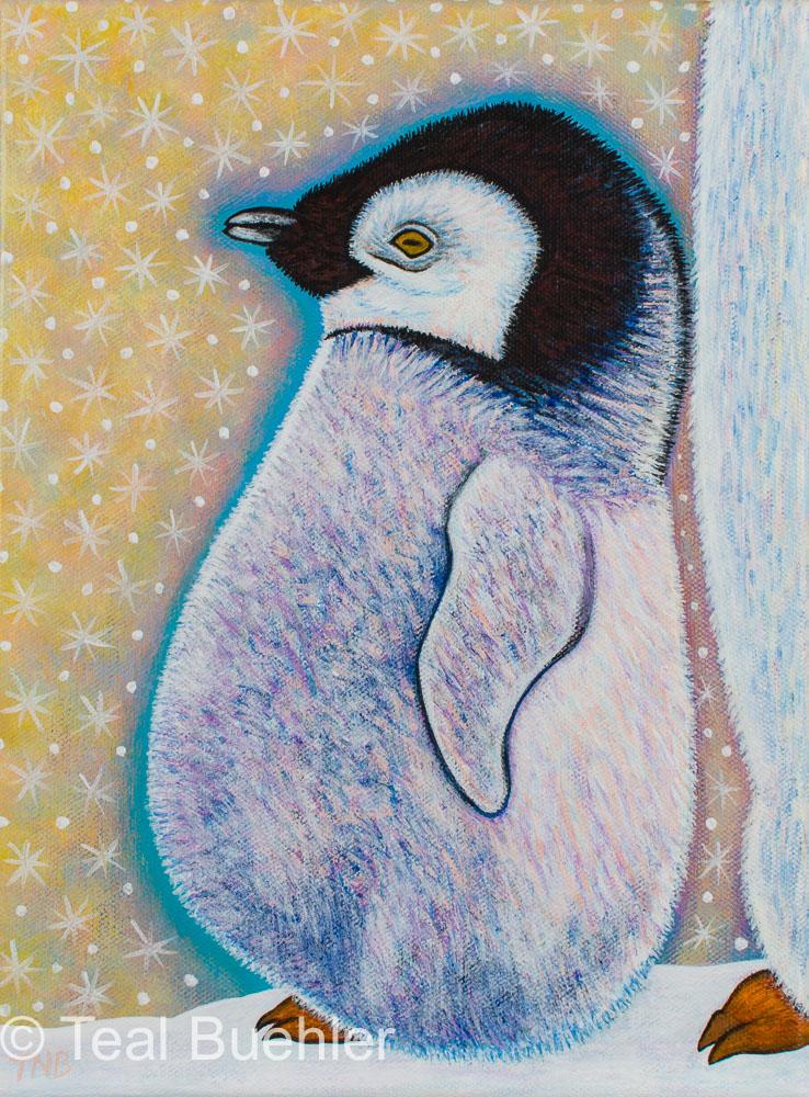 Baby Penguin - 9 x 12 Acrylic on Canvas