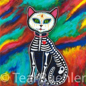 Day of the Dead Cat - 18 x 18 Acrylic on Canvas