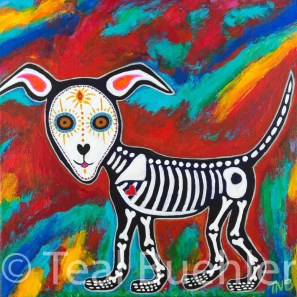 Day of the Dead Dog - 18 x 18 Acrylic on Canvas
