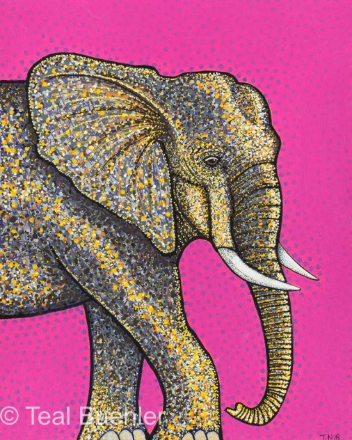 Pink Elephant - 8 x 10 Acrylic Paint & Pens on Watercolor Paper