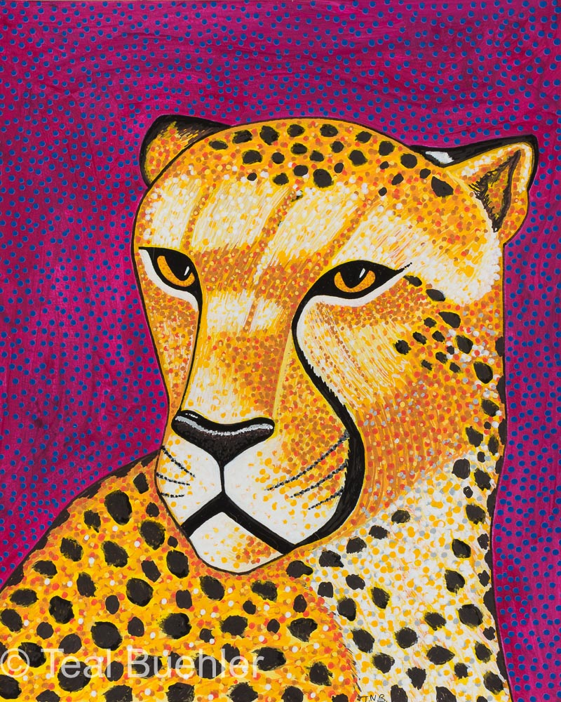 Purple Cheetah - 8 x 10 Acrylic Paint & Pens on Watercolor Paper