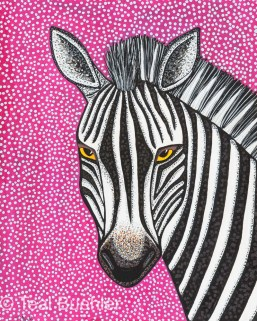 Purple Zebra - 8 x 10 Acrylic Paint & Pens on Watercolor Paper