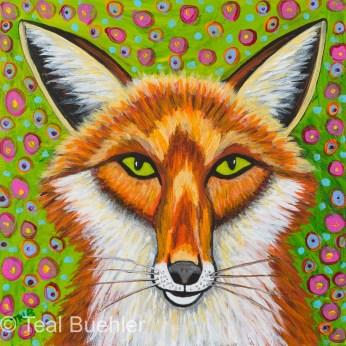 Foxy Fox - 6 x 6 Acrylic on Masonite