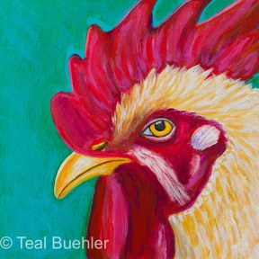SOLD - White Rooster - 5 x 5 Acrylic on Masonite