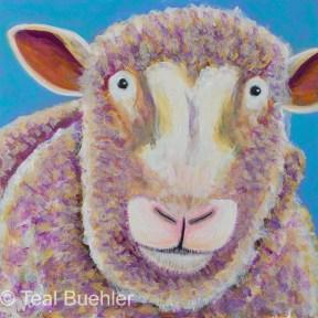 Sheep - 6 x 6 Acrylic on Masonite