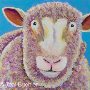 Sheep - 6 x 6 Acrylic on Masonite