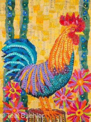 Rooster in the Flowers - 18x24 Collage on Masonite