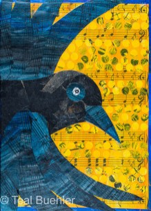 Crow Notes - 5x7 Collage on wood panel