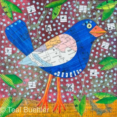 Birdie - 5x7 Collage on wood panel