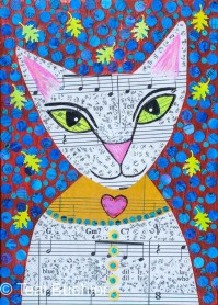 Cat Notes - 5x7 Collage on wood panel