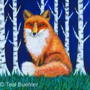 SOLD -- Winter Fox 12 x 12 Acrylic on canvas