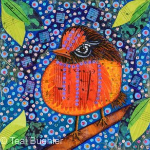 SOLD - Baby Bird - 6x6 Collage on wood panel