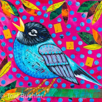Blue Robin - 6x6 Collage on wood panel