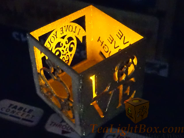 Sparkle Gold Valentines: Custom Tea Light Box