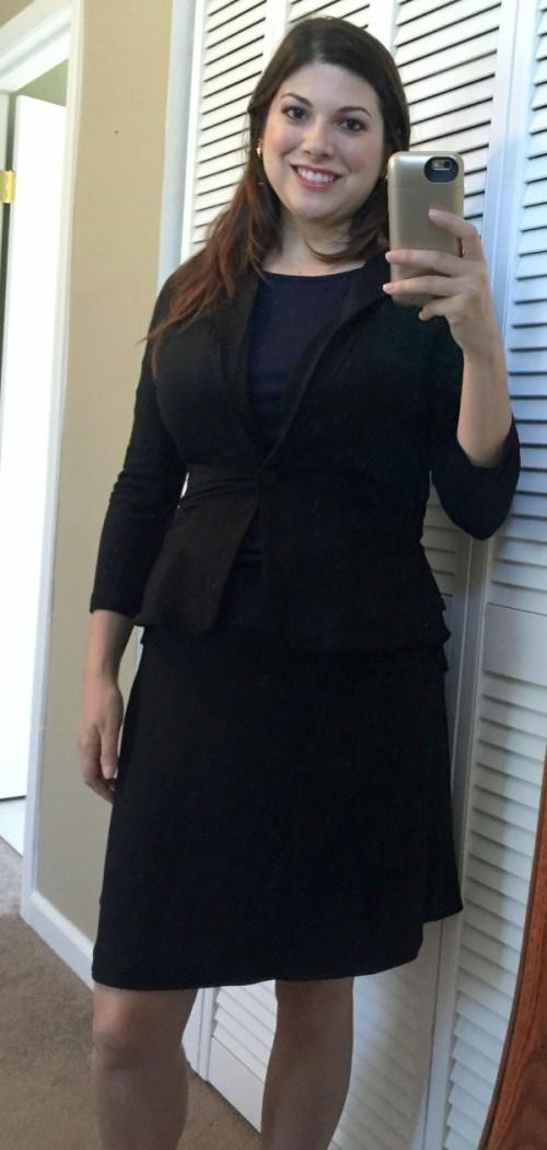 Market & Spruce Kristah Ruffle Knit Blazer and Gwendolen V-Back Knit Shirt and 41Hawthorn Reversible Skirt