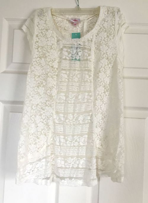 Pixley Carlie Mixed Lace Short Sleeve Shirt