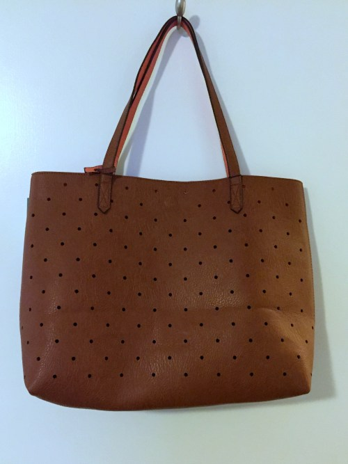Street Level Hanson Reversible Dot Tote Cognac