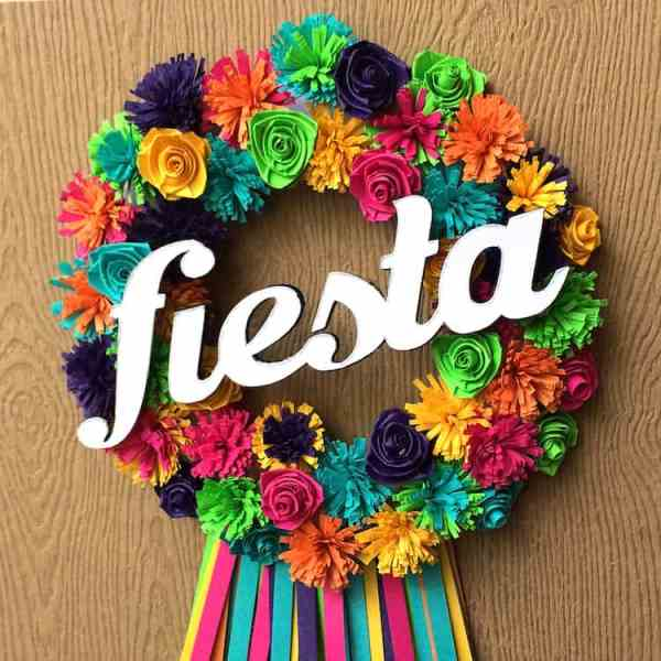 Cute and Colorful Fringed Fiesta Flowers Wreath