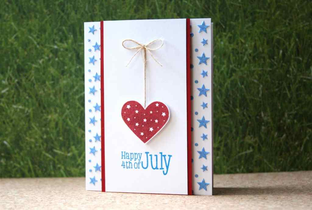 A Fourth of July card made with embossing paste and a little heat embossing for shine.