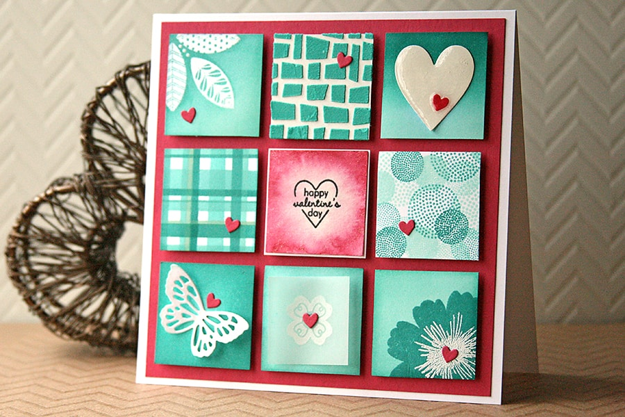 Nine Handmade Card Techniques in one lovely card!