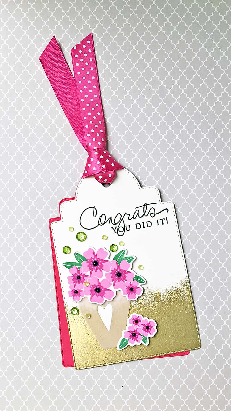 Floral Congrats Tag - Stamped images from Papertrey Ink, altered coffee mug die from Simon Says Stamp. To create the gold finish, swipe your watermark ink across the bottom of the tag, dip in gold embossing powder and heat!
