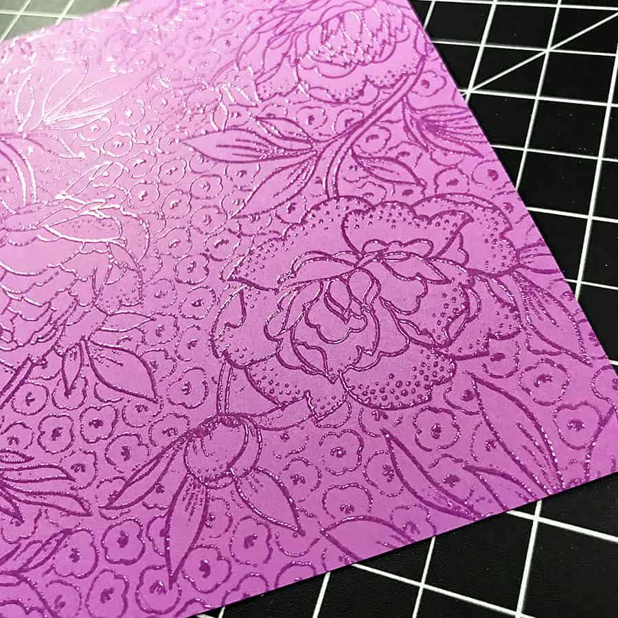 A Hand-Colored Floral Valentine, heat embossed design with clear powder