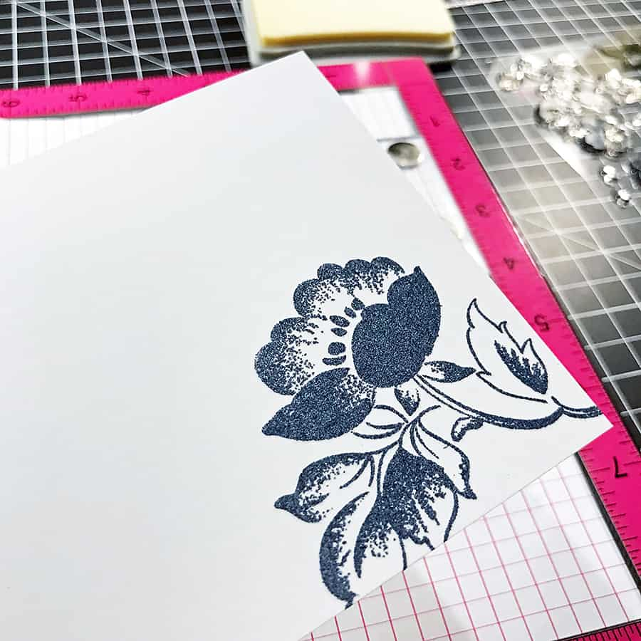 Saying Hello with Embossed Florals From Altenew - Embossing the first flower