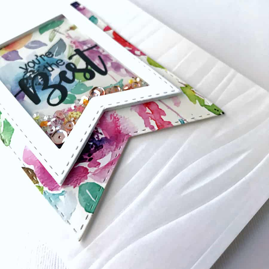 Clean & Simple Banner Shaker Card with Patterned Paper, Waves Embossing Folder