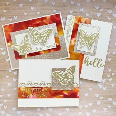 Pretty Autumn Card Trio: October Glimmer Plate Collection