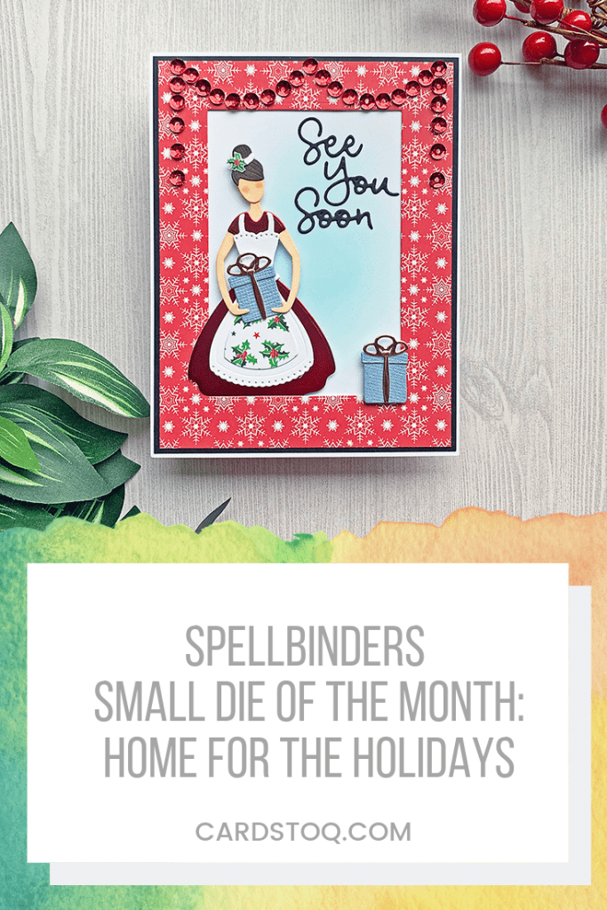 Spellbinders Small Die of the Month: Home for the Holidays! This set comes with a gift, pie, and tree to swap out for several project possibilities <3