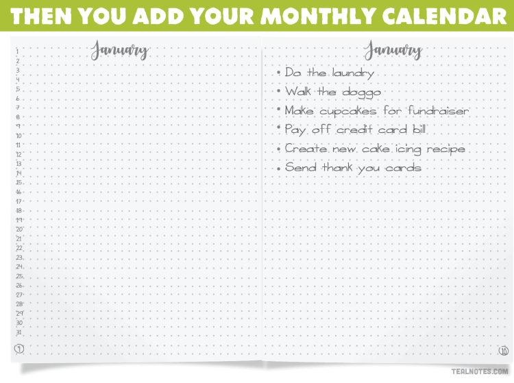 what is a bullet journal? How to start a bullet Journal, monthly calendar