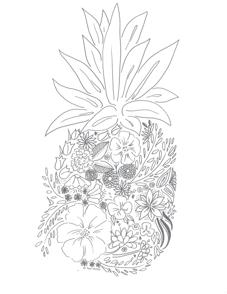 free adult coloring pages, pineapple coloring page