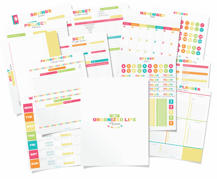 life organization printables, cute home management binder printables, cute organization printables, planners, shop planners