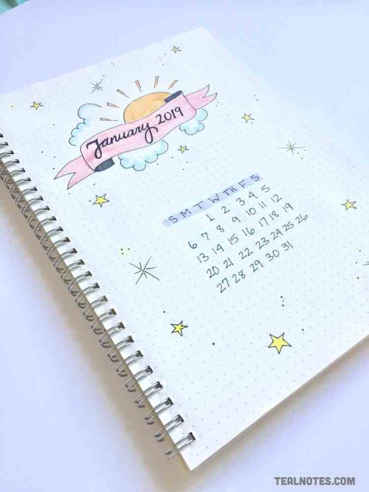 bullet journal set up, bullet journal monthly spread