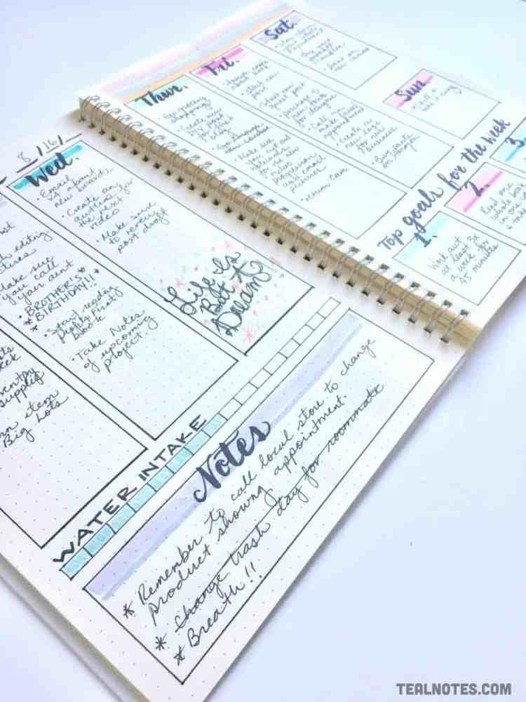 bullet journal set up, bullet journal weekly spread