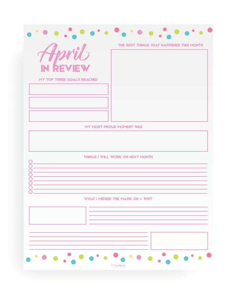 Monthly review printable