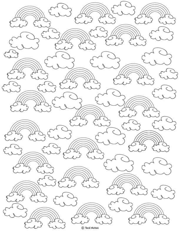 rainbow coloring page. free printable rainbow template