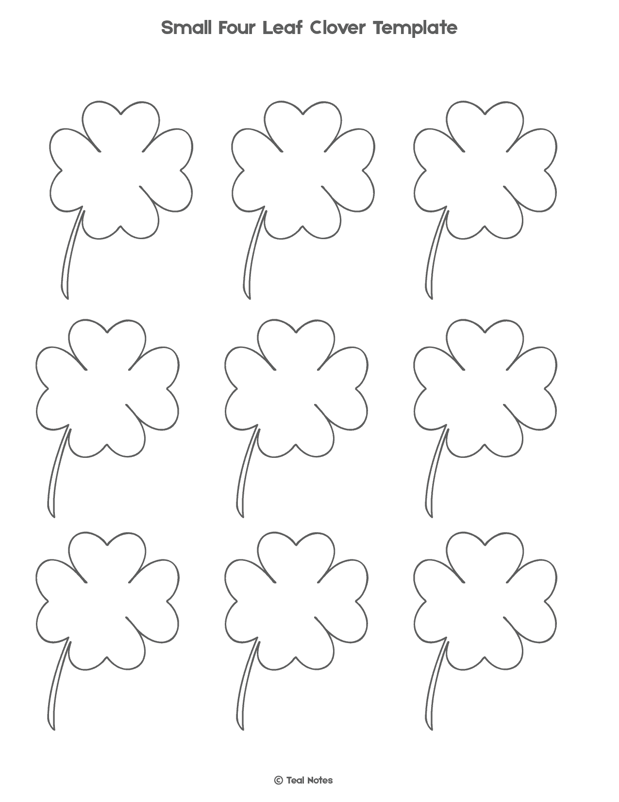 picture relating to Printable Four Leaf Clover identified as 4 Leaf Clover Template: No cost Shamrock Template Printable
