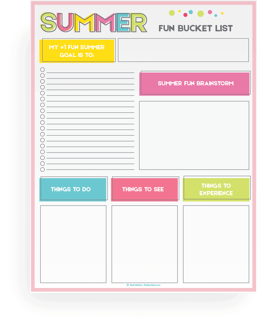 photo about Bucket List Printable Template called Summer time Bucket Record Printable Template Towards Prepare Your