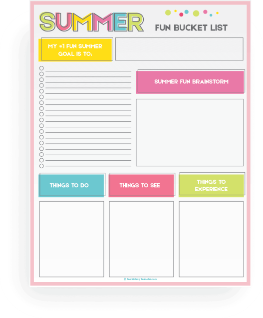 summer bucket list printable template