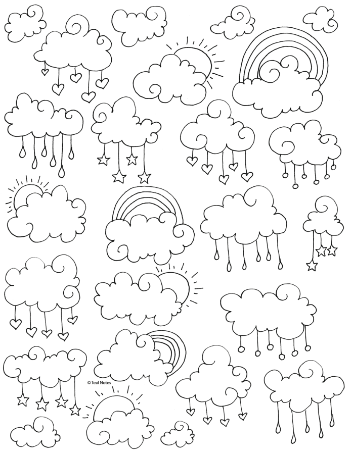 free clouds coloring page