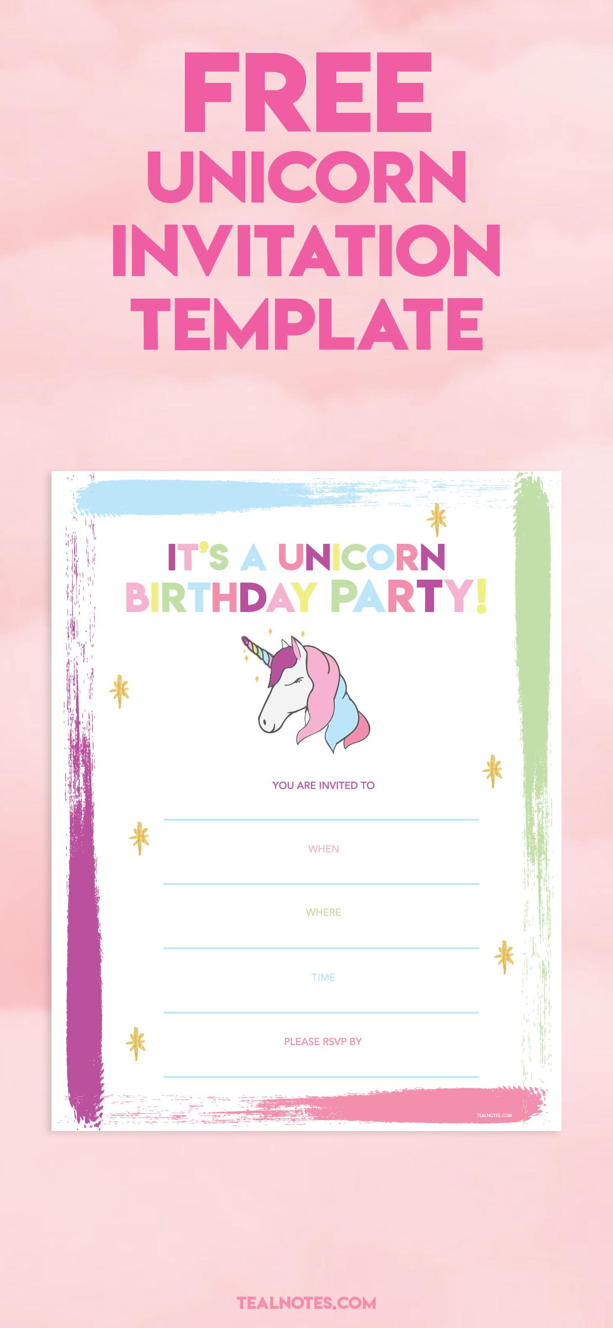unicorn invitation template 3 free