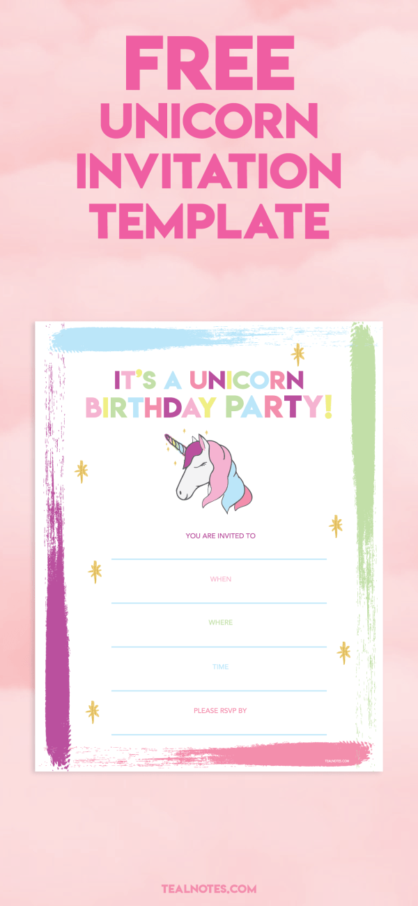 unicorn invitation template