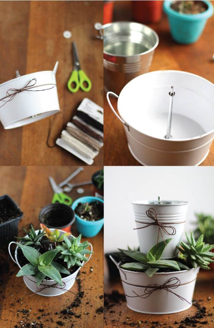 DIY tiered succulent planter supplies and directions