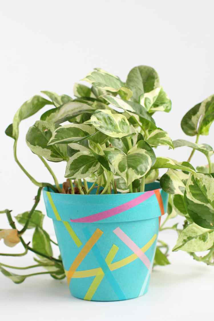 washi tape flower pot idea
